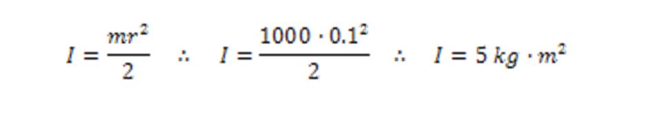 0.1m diameter 1000 kg shaft inertia